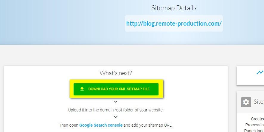 自動生成されたsitemapxmlのダウンロード